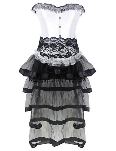 Feminino Sem Busto / Vestido com Corset / Conjunto com Corset / Tamanhos Grandes Roupa de Noite PatchworkAlgodão / Renda / Malha / Náilon