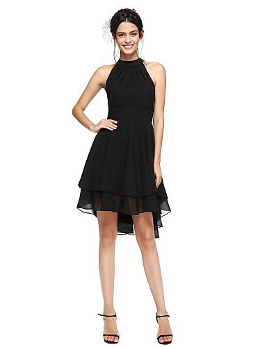A-linje Høyhalset Asymmetrisk Chiffon Liten svart kjole / Asymmetrisk lengde Cocktailfest Kjole med Plissert av TS Couture®