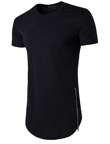 Rund hals Tynd Herre - Ensfarvet Bomuld Basale Sport T-shirt Rød L / Kortærmet / Sommer / Lang