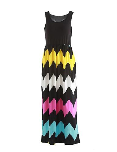 여성용 스윙 드레스 - 줄무늬, 주름장식 높은 밑위 맥시 U 넥