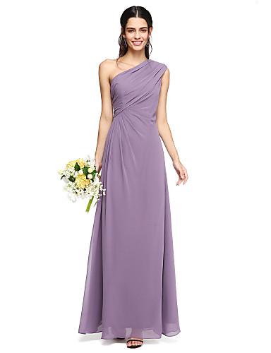 Funda / Columna Un Hombro Hasta el Suelo Raso Vestido de Dama de Honor con Recogido Lateral / Plisado por LAN TING BRIDE®