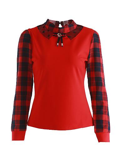 Damen Schachbrett / Patchwork Niedlich / Street Schick Lässig/Alltäglich T-shirt,Ständer Frühling / Herbst Langarm Rot / Weiß / Schwarz