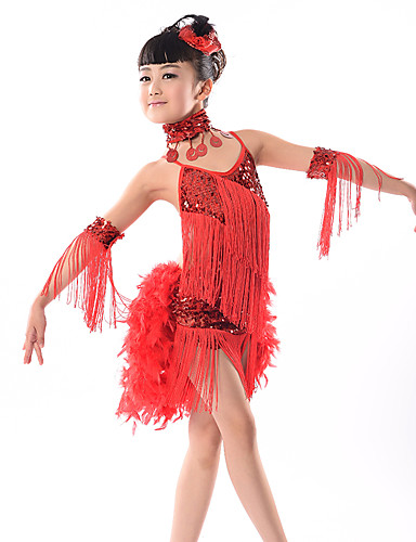 4ff2cab7a Latin Dance Dresses Performance Milk Fiber Tassel / Paillette Sleeveless  Natural Dress / Headwear / Neckwear