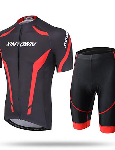 tanie Odzież rowerowa-XINTOWN Męskie Krótki rękaw Koszulka z szortami na rower Biały Czerwony Niebieski Rower Szorty Spodnie Dżersej Oddychający Szybkie wysychanie Odporność na promieniowanie UV Kieszeń na plecach Odvád
