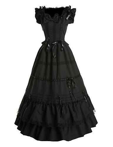 Lolita Stil Gotic Prințesă Satin Pentru femei Rochii Cosplay Negru Fluture Fără manșon Lung
