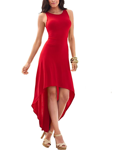 Women's Sheath Swing Dress - Solid Colored Red, Cut Out Pleated Asymmetrical