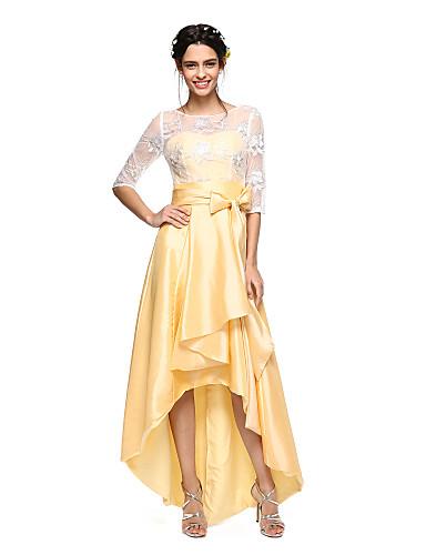 저렴한 신부들러리 긴 드레스-A-라인 쥬얼리 비대칭 태피터 / 쉬어 레이스 신부 들러리 드레스 와 리본 / 허리끈 / 리본 으로 LAN TING BRIDE® / 일루젼 / 오픈 백