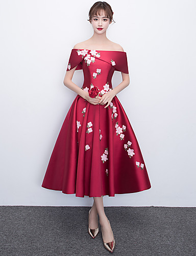 cheap Special Occasion Dresses-A-Line Off Shoulder Tea Length Satin Cocktail Party / Prom Dress with Appliques by LAN TING Express