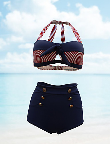 billige Dametopper-Dame Retro Høy Midje Store størrelser Vintage Grime Navyblå Bandeau Høy Midje Bikini Badetøy - Stripet XL XXL XXXL Navyblå