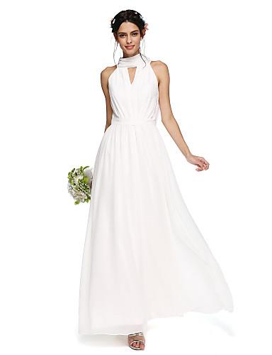 A-Linie Stehkragen Boden-Länge Chiffon Brautjungfernkleid mit Drapiert Schärpe / Band durch LAN TING BRIDE®