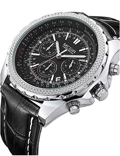 MEGIR للرجال ساعة المعصم كوارتز 30 m رزنامه جلد فرقة مماثل قديم أسود / بني - أسود أسود أبيض / البيج