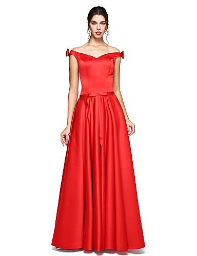 A-Linie Schulterfrei Boden-Länge Satin Formeller Abend Kleid mit Schleife(n) durch TS Couture®