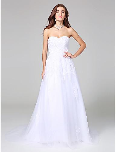 A-vonalú Szív-alakú Udvari uszály Szatén Tüll Esküvői ruha val vel Gyöngydíszítés Rátétek által LAN TING BRIDE®