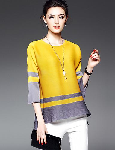 Mulheres Camiseta Estampa Colorida Raiom Poliéster