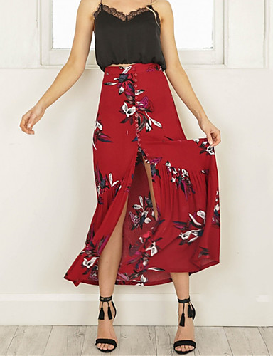 cheap Women's Skirts-Women's Daily / Holiday / Going out Street chic Swing / Trumpet / Mermaid Skirts - Floral Wine Yellow S M L