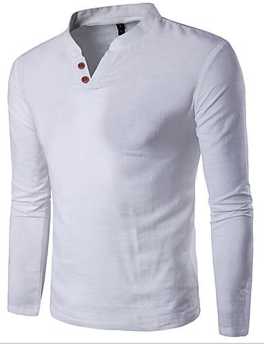 preiswerte Herren T-Shirts & Tank Tops-Herrn Solide - Grundlegend Sport Baumwolle T-shirt, Ständer Schlank Weiß XXXL / Langarm