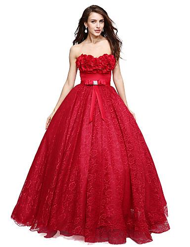 A-라인 스윗하트 바닥 길이 레이스 포멀 이브닝 드레스 와 아플리케 리본 으로 TS Couture®