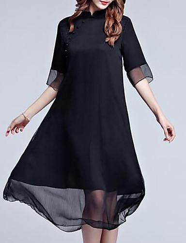 Mulheres Tamanhos Grandes Para Noite balanço Vestido Sólido Colarinho Chinês Médio Preto