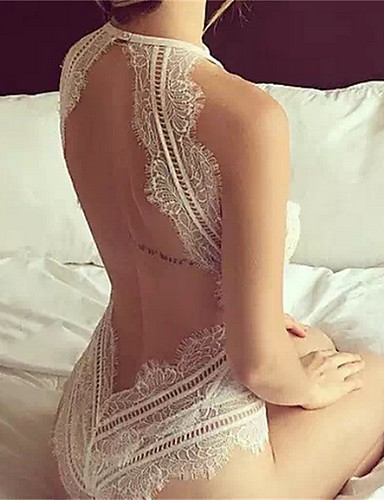 Mulheres Super Sexy Super Sensual Lingerie com Renda Roupa de Noite - Frente Única, Sólido