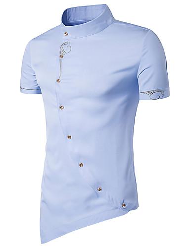 voordelige Uitverkoop-Heren Chinoiserie Standaard Overhemd Katoen Effen Opstaande boord Slank Marineblauw / Korte mouw / Zomer