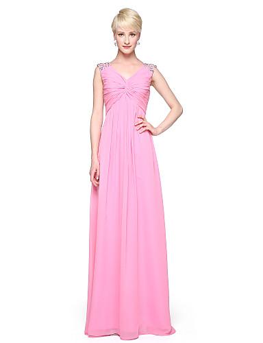 a-line v-hals gulvlængde chiffon brudepige kjole med perle side drapering ved navnilisha