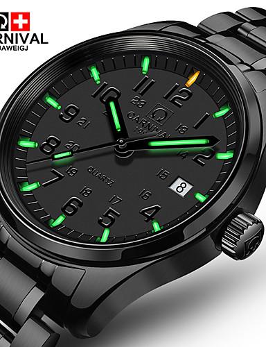 Carnival Homens Quartzo Relógio de Pulso Relógio Casual Aço Inoxidável Banda Luxo Fashion Preta