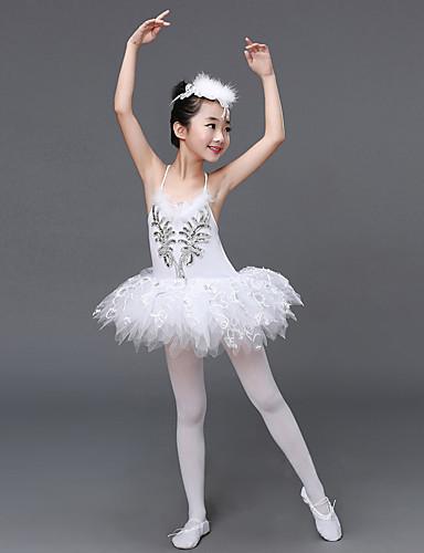 preiswerte Ballettbekleidung-Ballett Kleider Leistung Elasthan / Tüll Rüschen / Pailetten Ärmellos Hoch Kleid / Kopfbedeckung