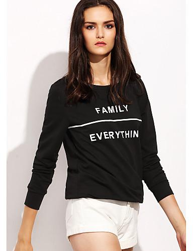 Dámské - Jednobarevné Na běžné nošení Tričko Bavlna