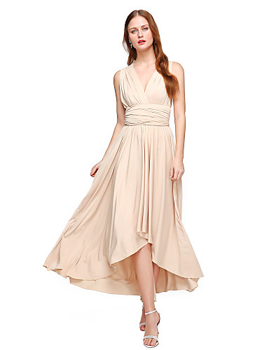 1b87a6e2ebce A-Line V Neck Asymmetrical Chiffon   Jersey Bridesmaid Dress with Sash    Ribbon   Pleats by LAN TING BRIDE®   Convertible Dress