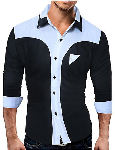 Homens Camisa Social Estampa Colorida Algodão Colarinho Clássico / Manga Longa