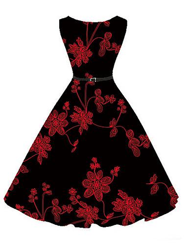 abordables Robes Femme-Femme Fleur Soirée Rétro Mi-long Trapèze Robe - Imprimé, Fleur Noir XL XXL XXXL Sans Manches