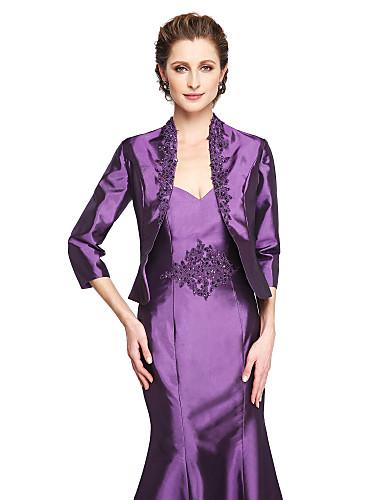 billige Brudesjaler-Elastisk sateng Bryllup / Fest & Aften Sjal til kvinner Med Perlearbeid / Appliqué Frakker / jakker