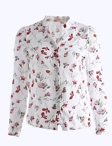 女性 カジュアル/普段着 秋 シャツ,シンプル Vネック フラワー ホワイト ポリエステル 長袖 ミディアム
