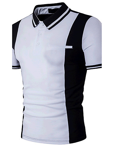 cheap Men's Polos-Men's Daily Weekend Active Cotton Slim Polo - Color Block Black & White, Patchwork Shirt Collar White L / Short Sleeve / Summer