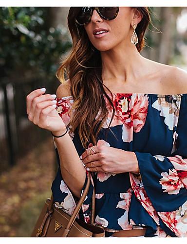 Mulheres Camiseta Floral Linho Decote Canoa