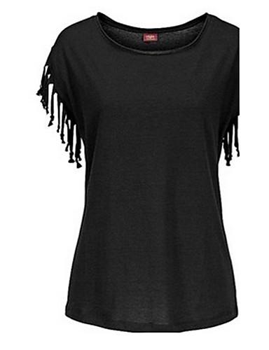 Mulheres Camiseta - Diário / Para Noite Sólido Algodão / Verão / Camurça