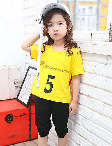 Girls' Print Sets,Rayon Summer Short Sleeve Clothing Set