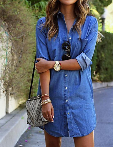Mulheres Algodão Camiseta Vestido Sólido Colarinho de Camisa Acima do Joelho Azul