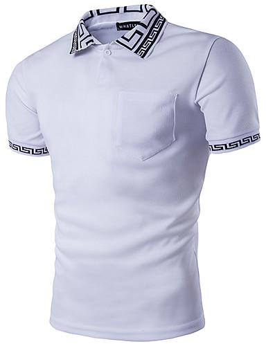 preiswerte Herren Polo Shirts-Herrn Geometrisch - Street Schick Polo, Hemdkragen Weiß L / Kurzarm