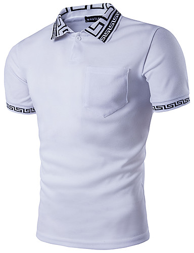 abordables Polos de Hombre-Hombre Chic de Calle Polo, Cuello Camisero Geométrico Blanco L / Manga Corta