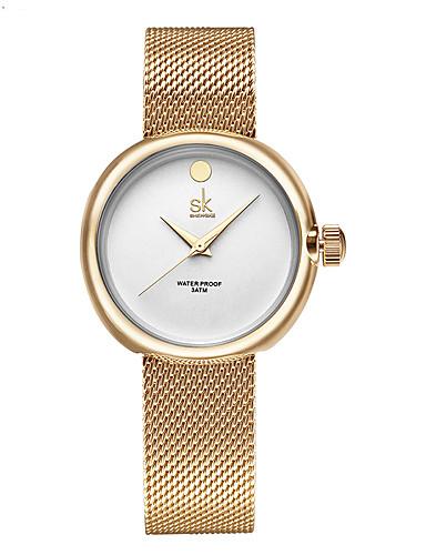SK Mulheres Quartzo Relógio Elegante Impermeável Resistente ao Choque Lega Banda Amuleto Luxo Casual Minimalista Fashion Dourada