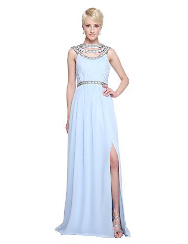 A-Linie Schmuck Boden-Länge Chiffon Brautjungfernkleid mit Perlenstickerei / Plissee durch LAN TING BRIDE®