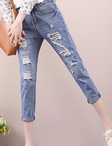 Dámské Jednoduchý Není elastické Džíny Kalhoty Štíhlý High Rise Jednobarevné