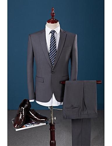 אפור כהה אחיד גזרה צרה חליפה - פתוח Single Breasted One-button / חליפות