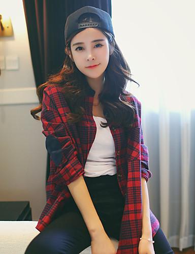 여성 체크 셔츠 카라 긴 소매 셔츠,심플 캐쥬얼/데일리 아크릴
