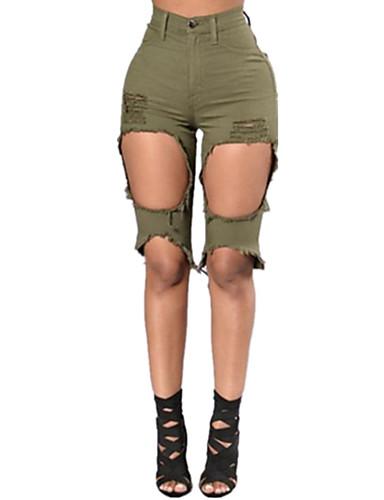 Damen Sexy Street Schick Mittlere Hüfthöhe Mikro-elastisch Kurze Hosen Schlank Hose,Ripped einfarbig