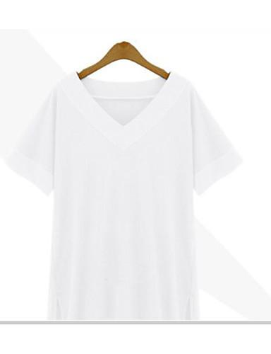 여성 솔리드 V 넥 짧은 소매 티셔츠,심플 캐쥬얼/데일리 면 대나무섬유