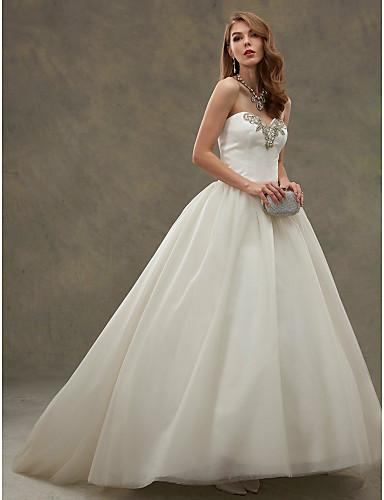 Báli ruha Szív-alakú Udvari uszály Szatén Tüll Esküvői ruha val vel Gyöngydíszítés által LAN TING BRIDE®