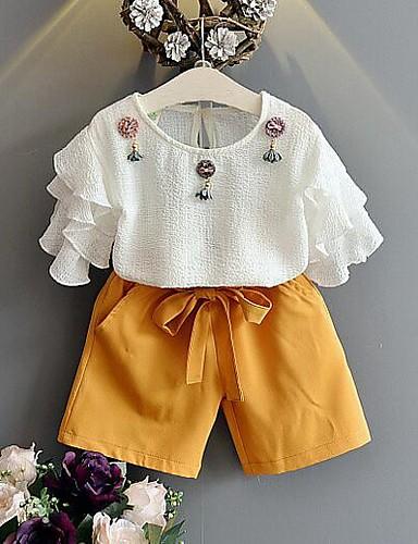 Mädchen Sets einfarbig Patchwork Baumwolle Polyester Sommer Kurzarm Kleidungs Set