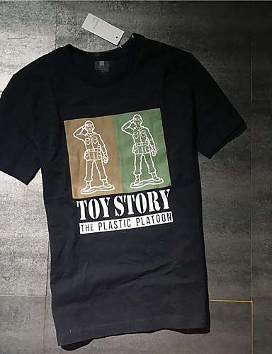 남성 기하학 라운드 넥 짧은 소매 티셔츠,단순한 캐쥬얼/데일리 면 여름 얇음